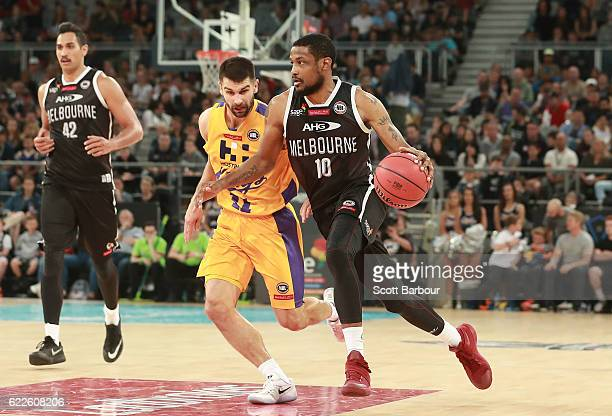 Ramone Moore of Melbourne United controls the ball during the round six NBL match between Melbourne United and the Sydney Kings at Hisense Arena on...