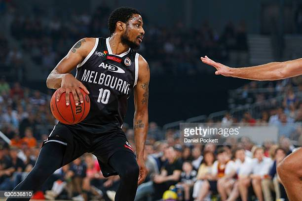 Ramone Moore of Melbourne United looks inside during the round 12 NBL match between Melbourne and Brisbane at Hisense Arena on December 26 2016 in...