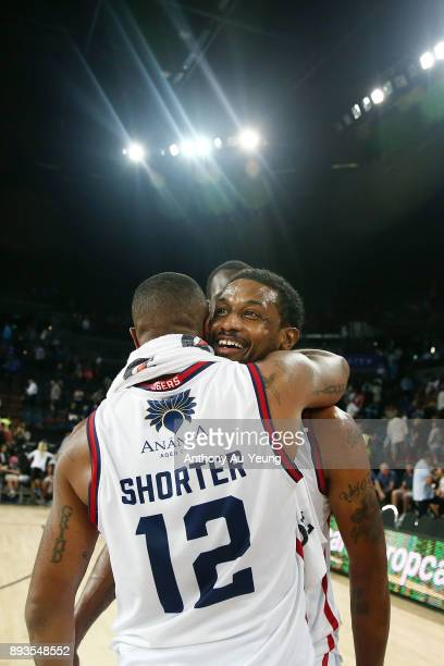 Ramone Moore of the 36ers celebrates with teammate Shannon Shorter after winning the round 10 NBL match between the New Zealand Breakers and the...
