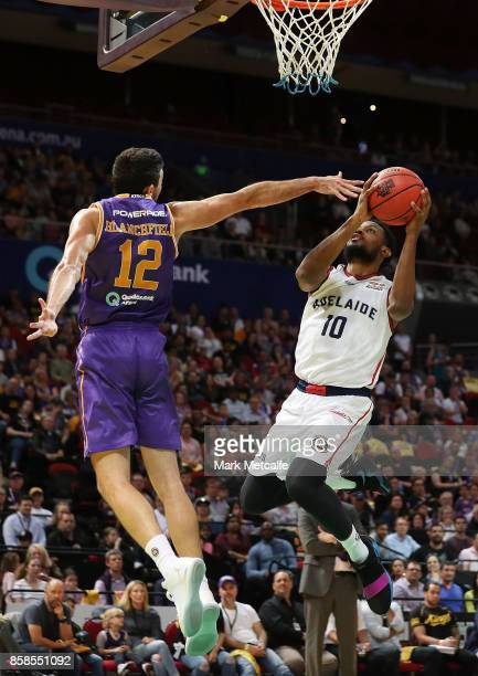 Ramone Moore of the 36ers shoots during the round one NBL match between the Sydney Kings and the Adelaide 36ers at Qudos Bank Arena on October 7 2017...