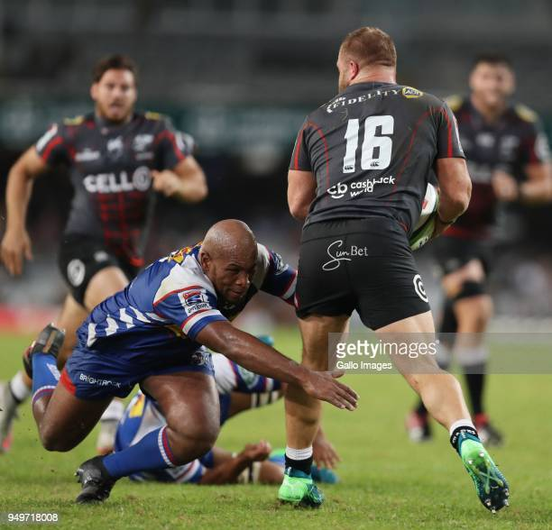 Ramone Samuels of The DHL Stormers tackling Akker van der Merwe of the Cell C Sharks during the Super Rugby match between Cell C Sharks and DHL...