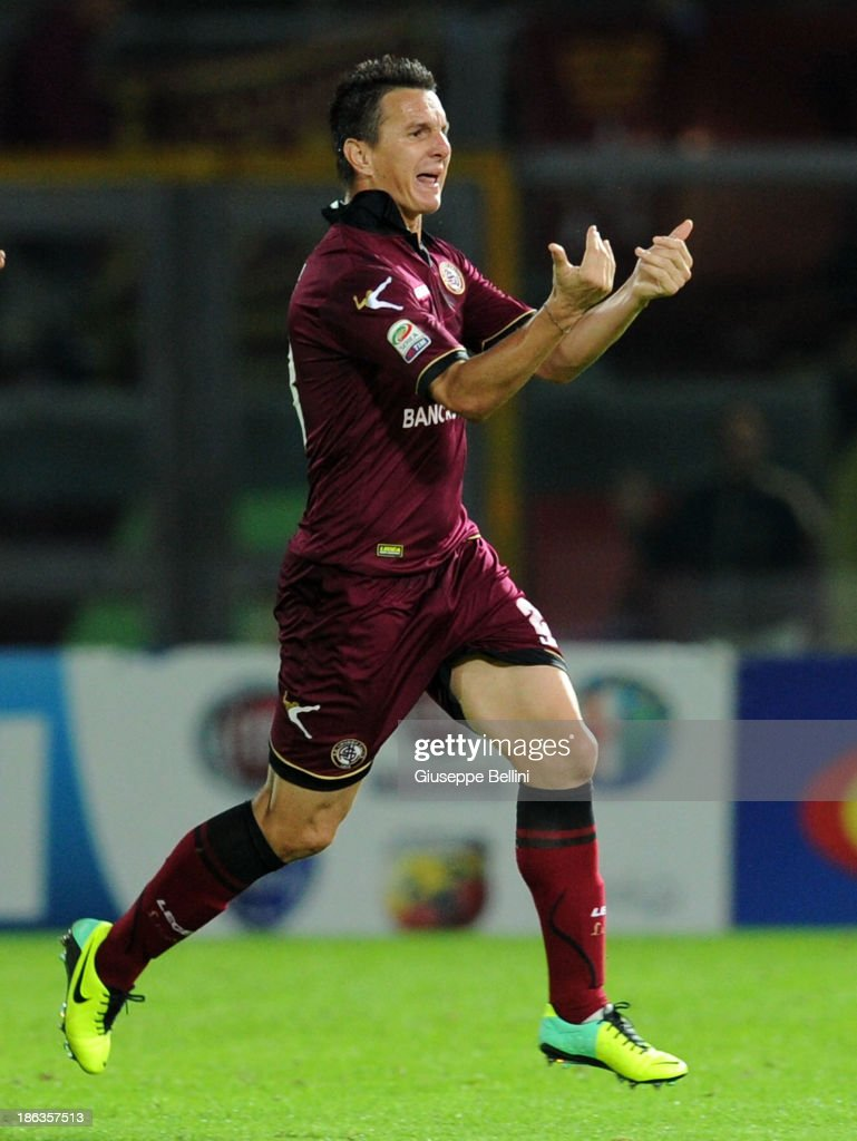 Ramos Emerson of Livorno celebrates after scorng the goal 3-2 during the Serie A match between AS Livorno Calcio v Torino FC at Stadio Armando Picchi on October 30, 2013 in Livorno, Italy.