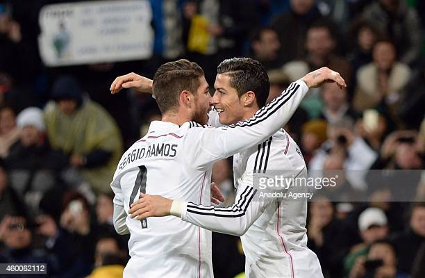 Ramos of Real Madrid celebrate after Cristiano Ronaldo's goal during the Spanish La Liga soccer match between Real Madrid and RC Celta at the...