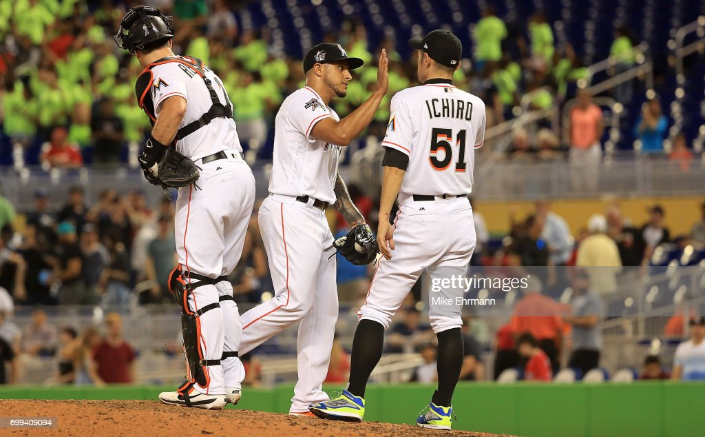 AJ Ramos #44 of the Miami Marlins celebrates winning a game against the Washington Nationals at Marlins Park on June 21, 2017 in Miami, Florida.