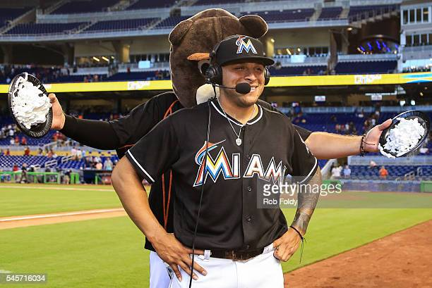 J Ramos of the Miami Marlins gets shaving cream to the face after the game against the Cincinnati Reds at Marlins Park on July 9 2016 in Miami Florida
