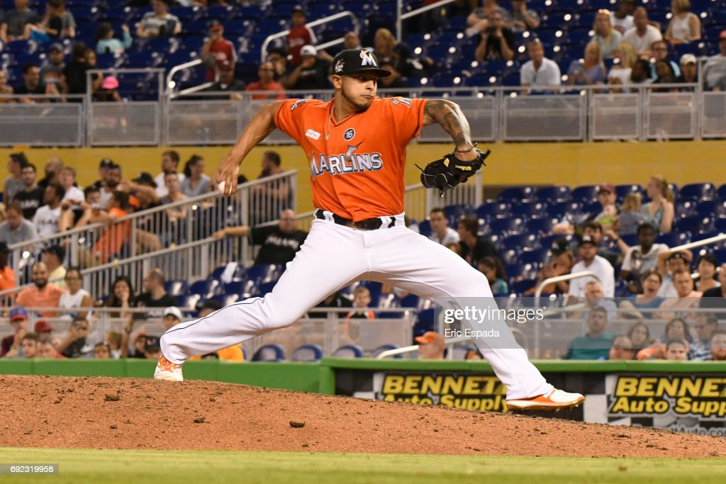 AJ Ramos #44 of the Miami Marlins throws a pitch during the ninth inning against the Arizona Diamondbacks at Marlins Park on June 4, 2017 in Miami, Florida.