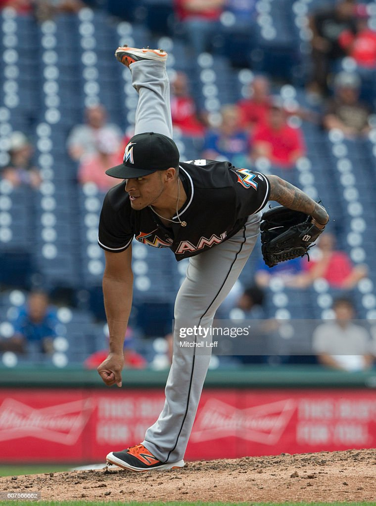 A.J. Ramos #44 of the Miami Marlins throws a pitch in the bottom of the ninth inning against the Philadelphia Phillies at Citizens Bank Park on September 18, 2016 in Philadelphia, Pennsylvania. The Marlins defeated the Phillies 5-4.
