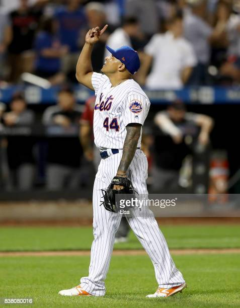 Ramos of the New York Mets celebrates the 42 win over the Arizona Diamondbacks on August 23 2017 at Citi Field in the Flushing neighborhood of the...