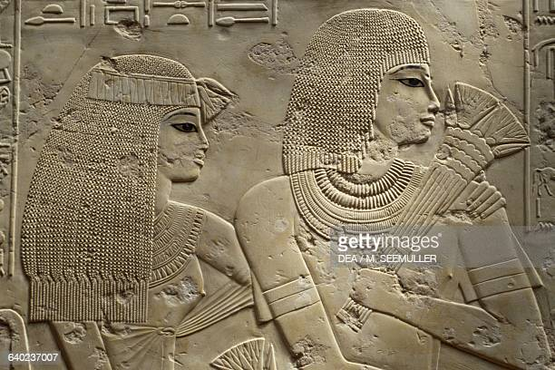 Ramose and his wife detail relief from the Hypostyle hall Tomb of city governor and vizier Ramose necropolis of Sheikh 'Abd alQurna ancient Thebes...