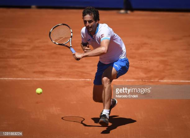 Ramos-Viñolas of Spain hits a backhand during a match against Francisco Cerundolo of Argentina with a part of first semifinal during day 6 of ATP...