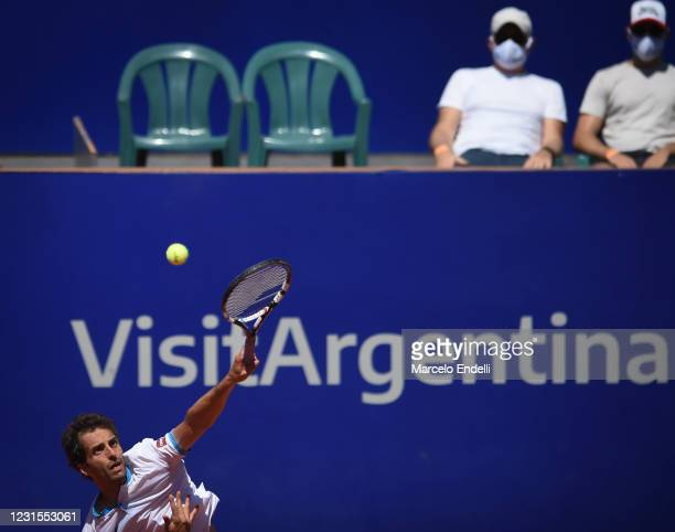Ramos-Viñolas of Spain serves during a match against Francisco Cerundolo of Argentina with a part of first semifinal during day 6 of ATP Buenos Aires...