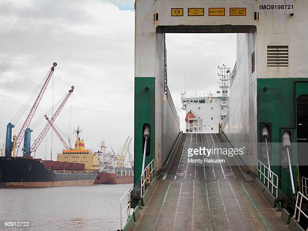 Ramp On To Ship At Port