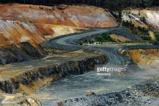 A ramp runs through an open pit mine at a Talison Lithium Ltd site a joint venture between Tianqi Lithium Corp and Albemarle Corp in Greenbushes...