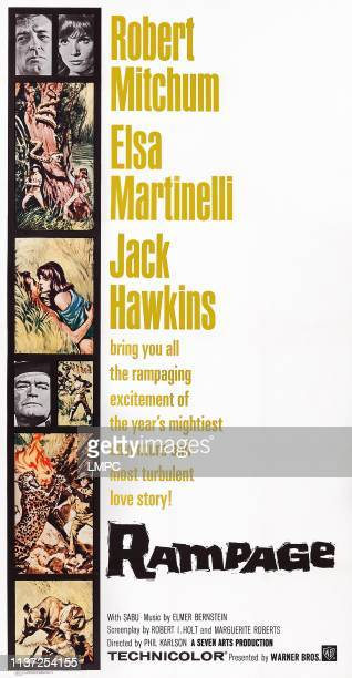 Rampage poster US poster art top insets Robert Mitchum Elsa Martinelli third inset from bottom Jack Hawkins 1963