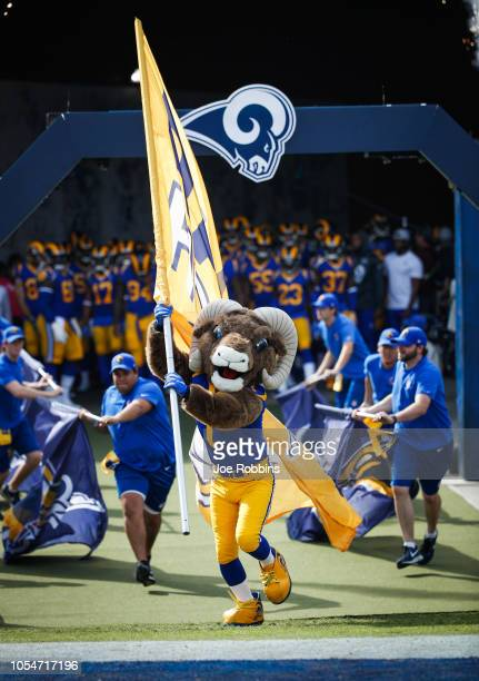 Rampage the Los Angeles Rams mascot takes the field ahead of the game against the Green Bay Packers at Los Angeles Memorial Coliseum on October 28...
