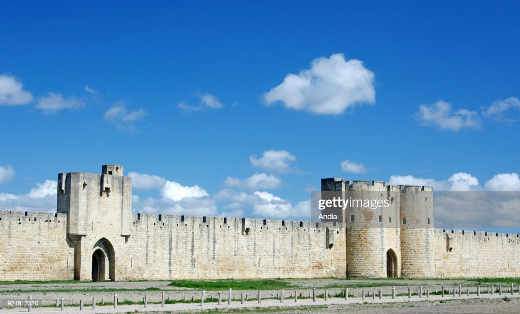Ramparts of Aigues-Mortes (south of France), listed as a 'monument historique', French for National Heritage Site.