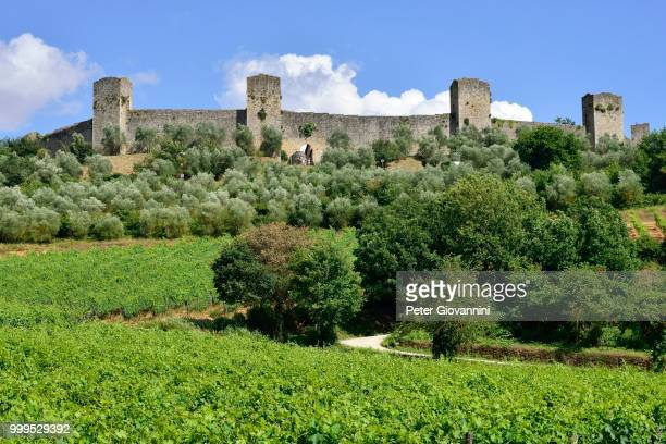 Ramparts of the medieval village of Monteriggioni, Province of Siena, Tuscany, Italy