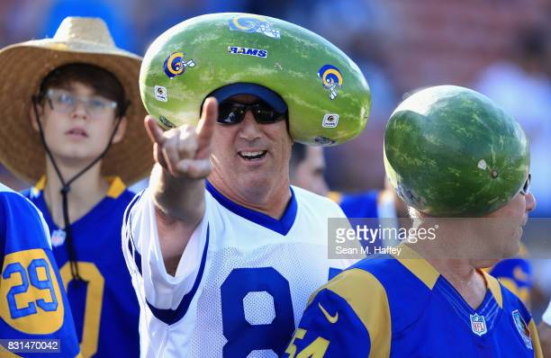 Rams fan looks on prior to a preseason game against the Dallas Cowboys at Los Angeles Memorial Coliseum on August 12 2017 in Los Angeles California
