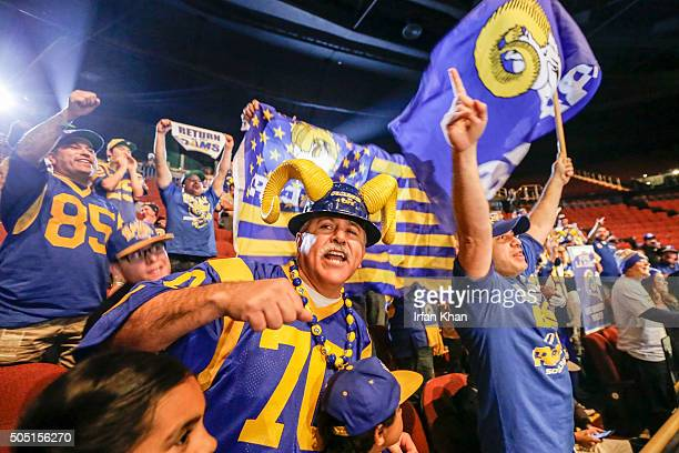 Rams fans at the press conference held by Inglewood Mayor James Butts Jr and Los Angeles Rams owner Stan Kroenke at Forum to celebrate and welcome...