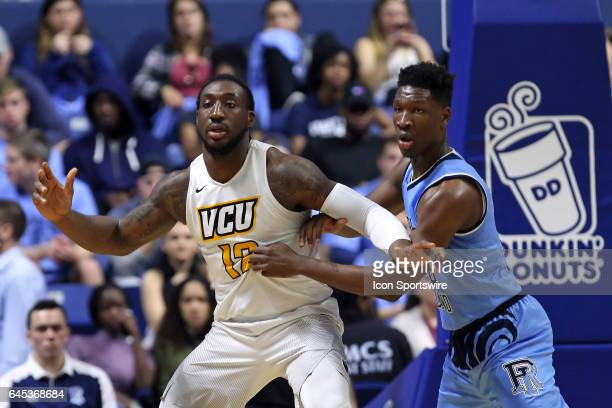 Rams forward Mo AlieCox and Rhode Island Rams forward Cyril Langevine in action during the first half of a college basketball game between VCU Rams...