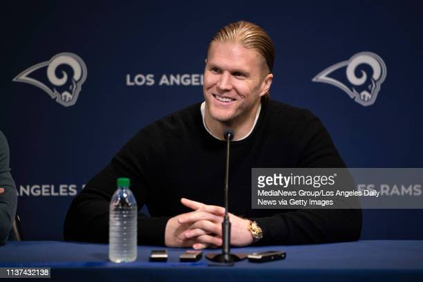 Rams linebacker Clay Matthews during a press conference at the Rams practice facility in Thousand Oaks on Thursday March 21 2019 to announce the...