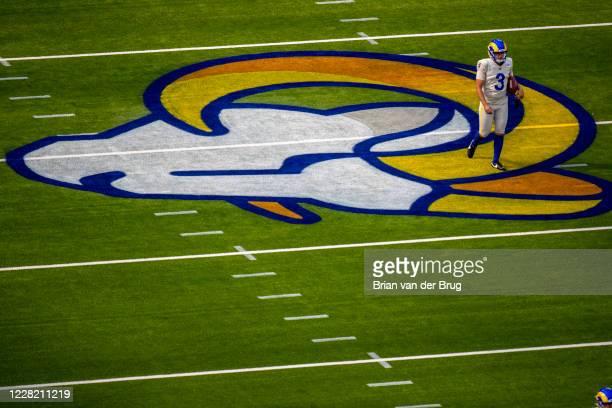 Rams Lirim Hajrullahu on the field after warming up for scrimmage at SoFi Stadium Saturday, Aug. 22, 2020 in Inglewood, CA. Brian van der Brug / Los...