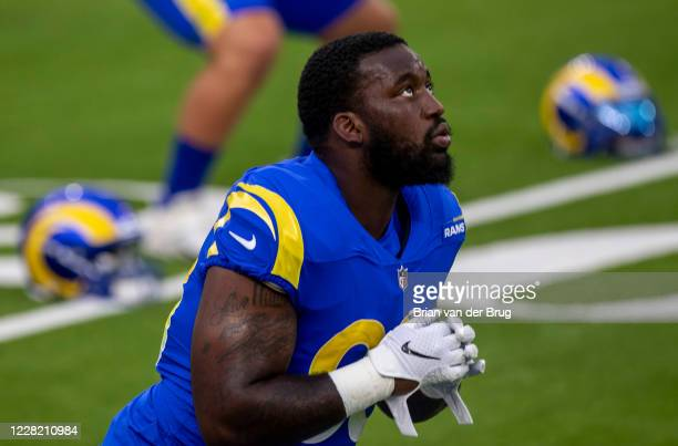 Rams Marquise Copeland, No. 93, stretches during scrimmage at SoFi Stadium Saturday, Aug. 22, 2020 in Inglewood, CA. Brian van der Brug / Los Angeles...