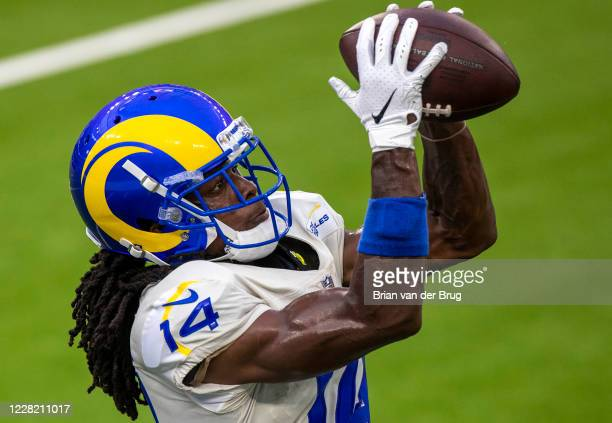 Rams Nsimba Webster no. 14 makes a catch during scrimmage at SoFi Stadium Saturday, Aug. 22, 2020 in Inglewood, CA. Brian van der Brug / Los Angeles...