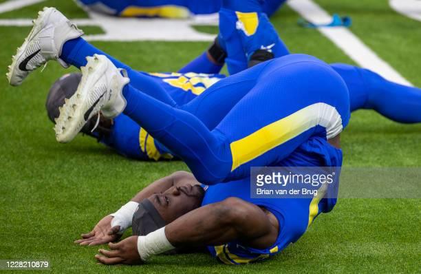 Rams Ogbonnia Okoronkwo, No. 45, stretches during scrimmage at SoFi Stadium Saturday, Aug. 22, 2020 in Inglewood, CA. Brian van der Brug / Los...