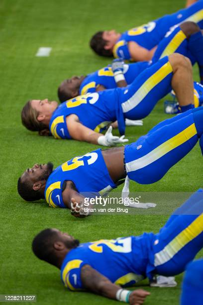 Rams players stretch during scrimmage at SoFi Stadium Saturday, Aug. 22, 2020 in Inglewood, CA. Brian van der Brug / Los Angeles Times via Getty...