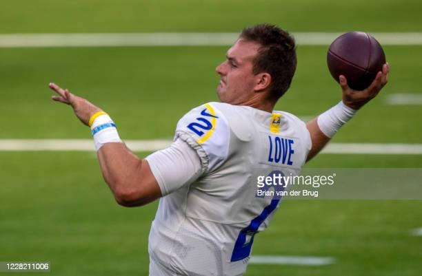 Rams QB Josh Love, No. 2, warms up for scrimmage at SoFi Stadium Saturday, Aug. 22, 2020 in Inglewood, CA. Brian van der Brug / Los Angeles Times via...