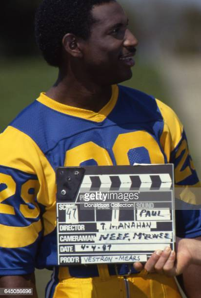 Rams running back Eric Dickerson poses for a portrait session in uniform on the field on April 4 1987 in Los Angeles California