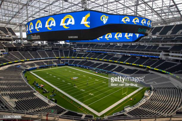 Rams scrimmage at SoFi Stadium Saturday, Aug. 22, 2020 in Inglewood, CA. Brian van der Brug / Los Angeles Times via Getty Images)