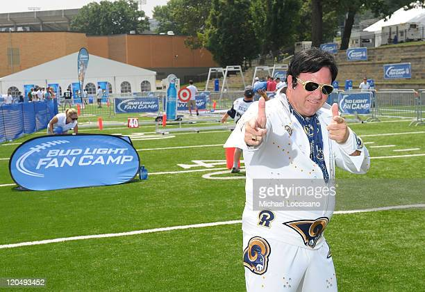 Rams Superfan Dave King King Ram attends Bud Light Launches NFL Fan Camp during Hall of Fame Enshrinement at Pro Football Hall Of Fame on August 6...