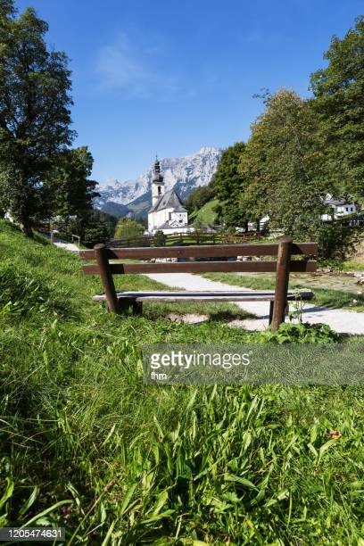 "ramsau/ berchtesgardener land with church and river ""malerwinkel""(bavaria/ germany) - berchtesgaden stock pictures, royalty-free photos & images"