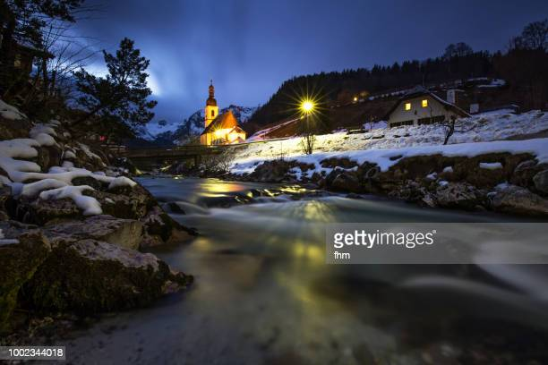 """ramsau """"malerwinkel""""/ berchtesgadener land with church and creek (bavaria/ germany) - berchtesgaden alps stock photos and pictures"""