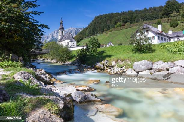 "ramsau ""malerwinkel""/ berchtesgadener land with church and creek (bavaria/ germany) - berchtesgaden stock pictures, royalty-free photos & images"