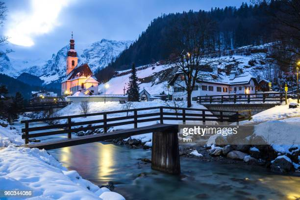 "ramsau ""malerwinkel""/ berchtesgardener land with church and creek (bavaria/ germany) - berchtesgaden stock pictures, royalty-free photos & images"