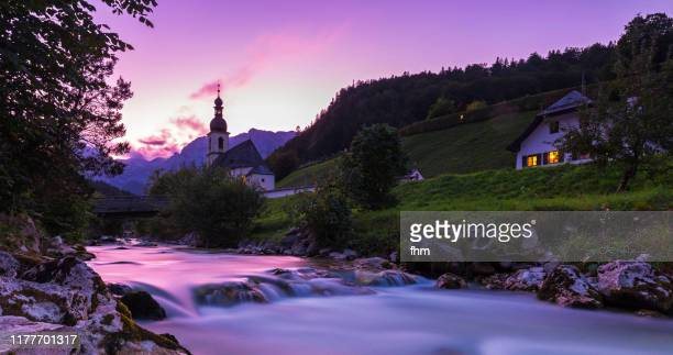 ramsau sunset (bavaria/ germany) - berchtesgaden stock pictures, royalty-free photos & images
