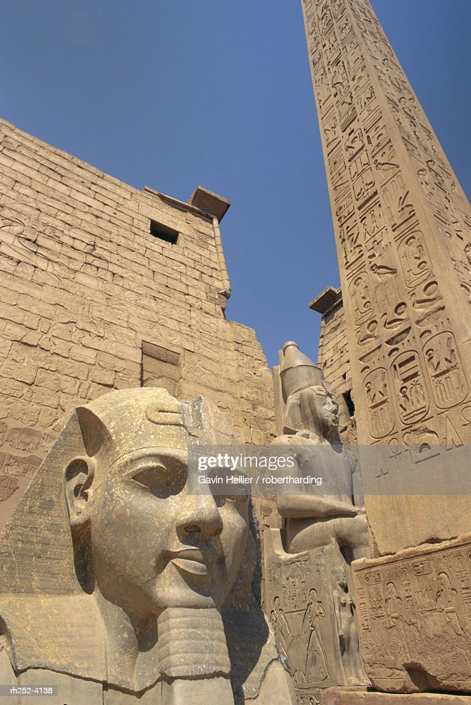 Ramses II and the Obelisk at Luxor Temple, Luxor, Thebes, Egypt, Africa : Foto de stock