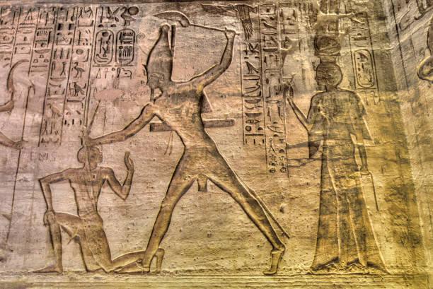 Ramses II at Kadesh in center, Reliefs, Temple of Hathor and Nefertari, UNESCO World Heritage Site, Abu Simbel, Nubia, Egypt, North Africa, Africa