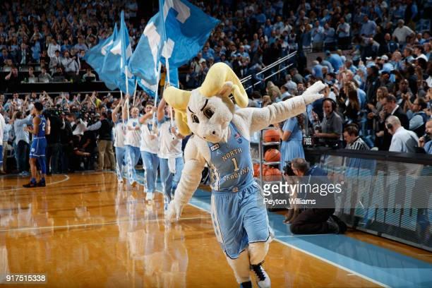 Ramses mascot of the North Carolina Tar Heels makes an entrance before a game against the Duke Blue Devils on February 08 2018 at the Dean Smith...
