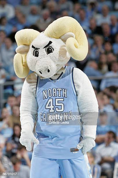 Ramses, the mascot of the University of North Carolina at Chapel Hill Tar Heels, performs during the game against the University of Miami Hurricanes...
