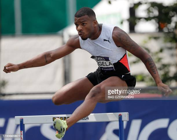 Ramsey Angela competes on his way to win the 400 meters hurdles during the Dutch Athletics Championships in Breda, on June 26, 2021. - Netherlands...