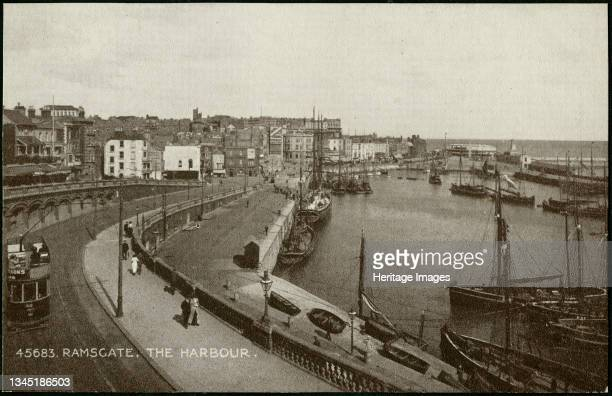 Ramsgate Harbour, Ramsgate, Thanet, Kent, c1901-c1937. A general view showing Ramsgate harbour from the north-west, possibly on the Royal Parade, and...