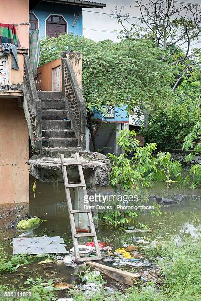Ramshackle stairs to house