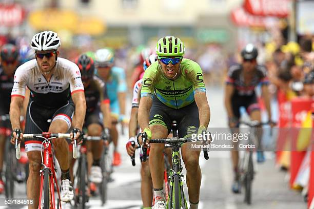 Ramunas Navardauskas of Lithuania riding for Cannondale-Garmin looks on as he crosses the finish line during the 2015 Tour of France, Stage 4,...