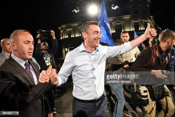 Ramush Haradinaj parliamentary elections Prime Minister candidate and leader of the Alliance for Future of Kosova and Kadri Veseli leader of the...