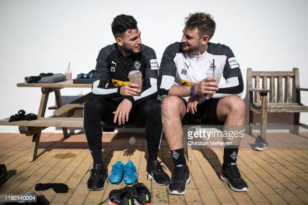 Ramy Bensebaini and Assistant Coach Rene Maric are seen during the Borussia Moenchengladbach Training Camp on January 06 2019 in Jerez de la Frontera...