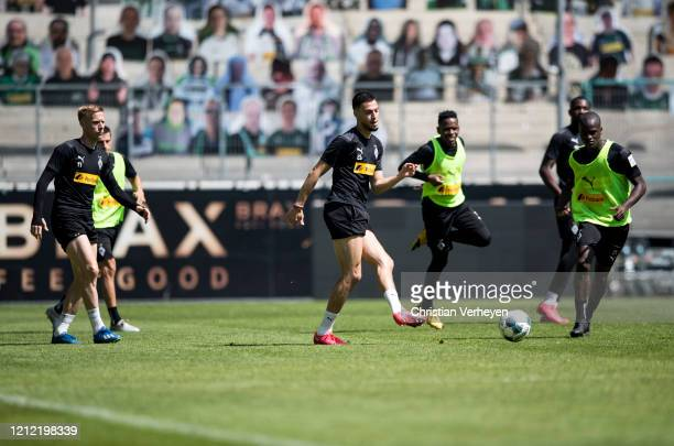 Ramy Bensebaini in action during a training session of Borussia Moenchengladbach at BorussiaPark on May 08 2020 in Moenchengladbach Germany